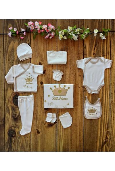 İpeksi Baby Kral-Taç Nakışlı 10 Parça Hastane Çıkışı - Altın - 0-3 Ay