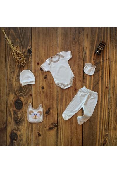 İpeksi Baby Tulumlu Panda Nakışlı 6 Parça Zıbın Seti 0-3 Ay