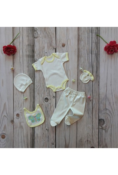 İpeksi Baby Tulumlu Kelebek Nakışlı 6 Parça Zıbın Seti 0-3 Ay