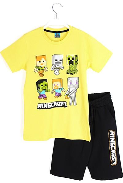Mojang Erkek Çocuk Minecraft Baskılı Kapri T-Shirt Takım