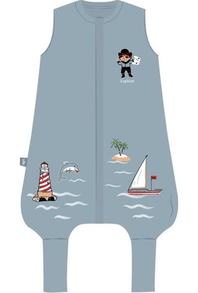 Woolnat Merino Yün Yeni Marine Temalı Kolsuz Merino Yün Tek Katlı Çocuk Uyku Tulumu
