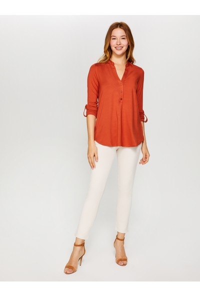 Faik Sönmez Kaçık Yaka Uzun Kollu T-Shirt 60023