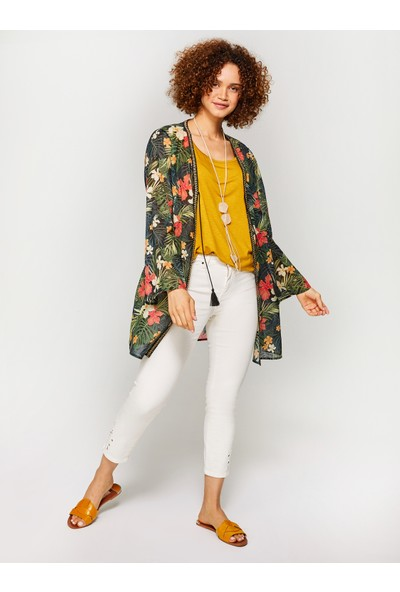 Faik Sönmez Çiçek Desenli Vual Kimono 60087