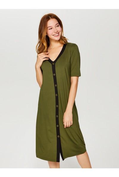 Faik Sönmez Kontrast Biyeli Örme Elbise 60257