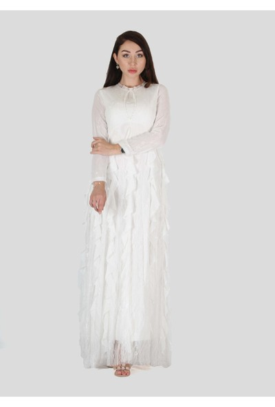 Three's Fırfır ve Boncuk Detaylı Abiye Elbise