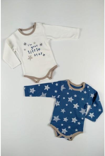 Blueberry Erkek Bebek 2 Li Alttan Çıtçıtlı Uzun Kol Badi