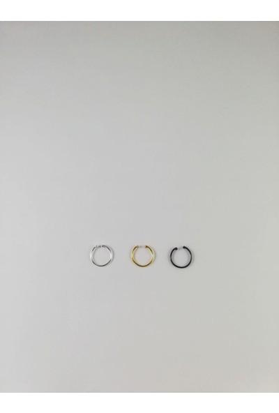 Takıparkxs Delik Olmadan Takılabilen (Fake)Sıkıştırma 925 Ayar Gümüş Üçlü Halka Hızma Set