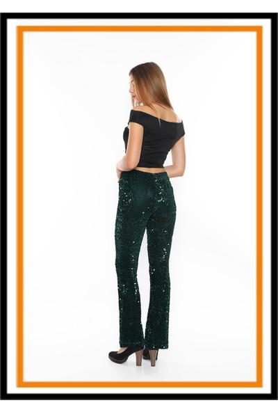 Secret Story Shining Story İspanyol Paça Toparlayıcı Pantolon Zümrüt Yeşil Pul Payet XL