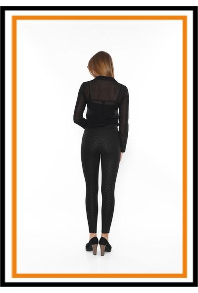 Secret Story Skinny Story Yüksek Bel Toparlayıcı Pantolon - Tayt Zigzag L