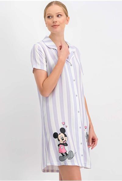 Mickey Mouse Lisanslı Beyaz-Lila Düğmeli Kadın Homewear Gömlek Elbise
