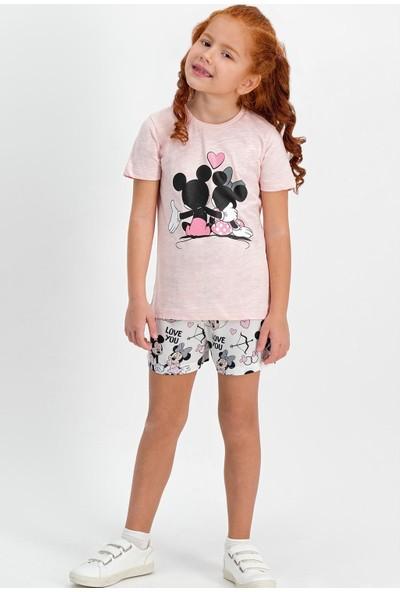Mickey Mouse Lisanslı Somon Kız Çocuk Şort Takım