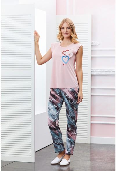 Dowry Kalp Nakışlı Pijama Takımı