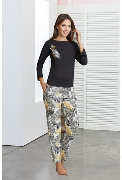 Dowry Çiçek Desenli Siyah Pijama Takımı