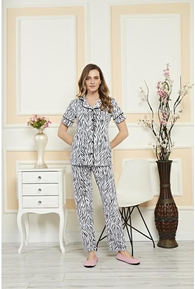 Alperi Önden Düğmeli Zebra Pijama Takımı