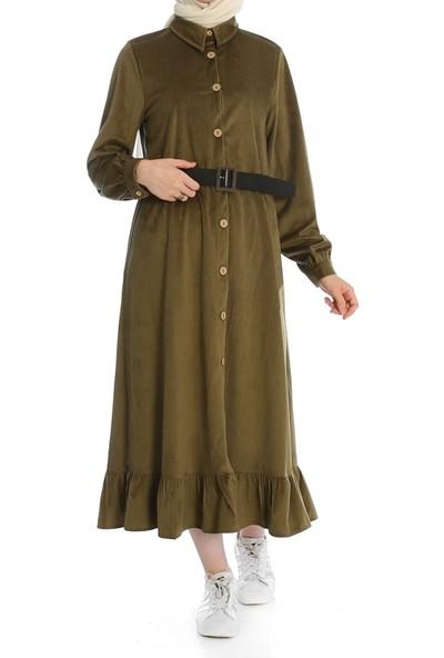 Miostil Ases Ön Düğmeli Alt Fırfırlı Elbise