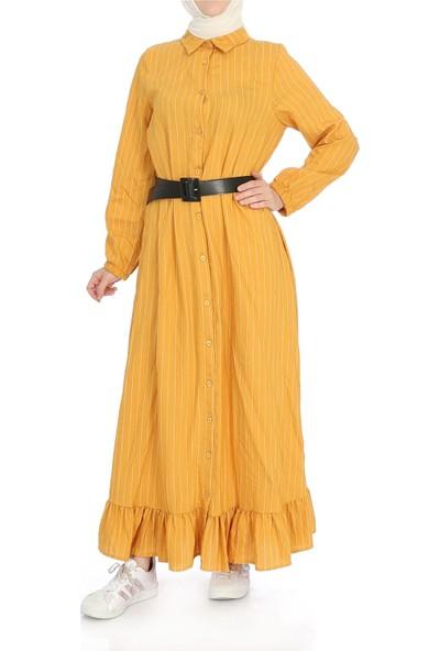 Miostil Ülf Kol Lastikli Alt Fırfırlı Çizgili Elbise