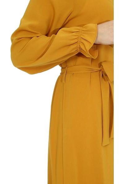 Miostil Ülf Kol Volanlı Etek Fırfırlı Elbise