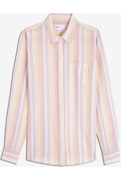 Gap Kadın Çizgili Boyfriend Gömlek