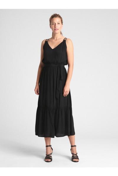 Gap Asklılı Midi Elbise