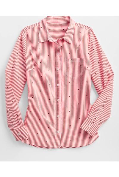Gap Çizgili Yıldız Desenli Poplin Gömlek