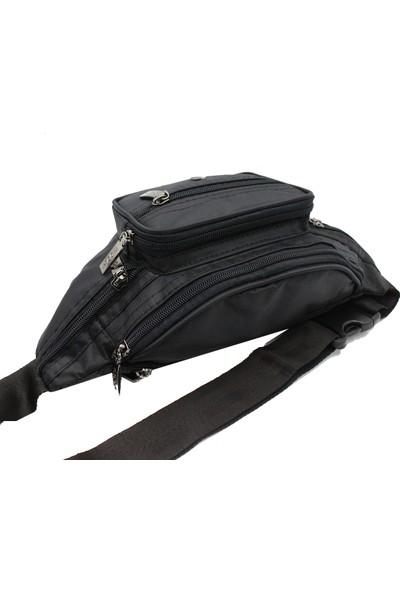 Moda 1296 Kumaş Çok Gözlü Bel Çanta Siyah