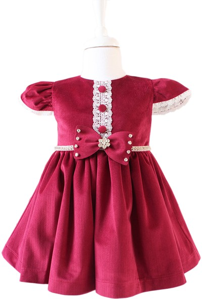Lilipoupee Bordo Renk Kadife Kumaşlı Ekru Dantel Düğme Detaylı Elbise 9 - 12 Ay