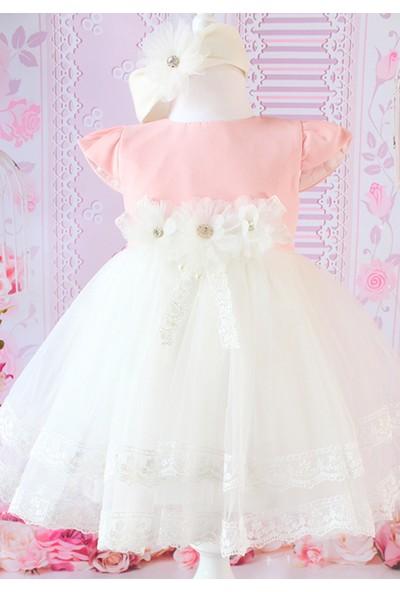 Lilipoupee Somon Renk Zarif Çiçek Süslü Kabarık Elbise Takımı 0 - 3 Ay