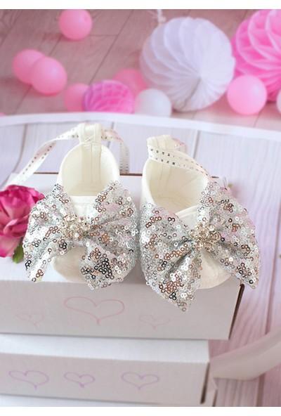 Lilipoupee Gümüş Payet Fiyonklu Tül Detaylı Zarif Elbise Takımı 3 - 6 Ay
