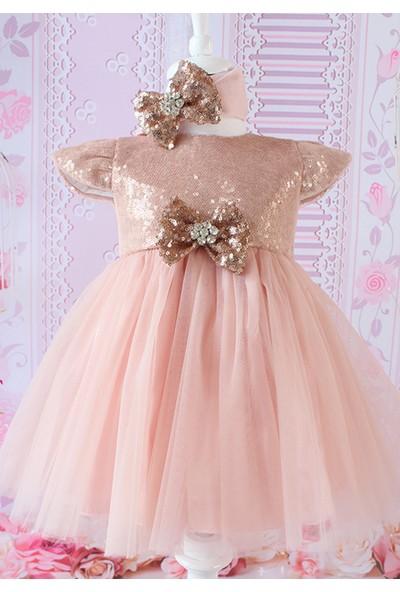 Lilipoupee Somon Payet Fiyonklu Tül Detaylı Zarif Elbise Takımı 3 - 6 Ay