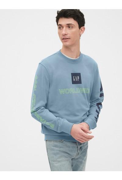 Gap Grafik Düz Yakalı Sweatshirt