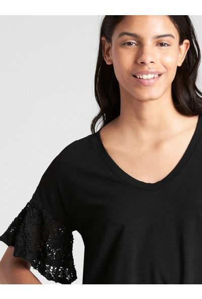 Gap Kısa Dantel Kollu T-Shirt