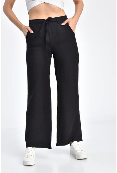 Modkofoni Belden Lastikli Kuşaklı Bol Paça Siyah Keten Pantolon