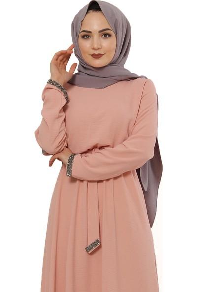 Taş Işlemeli Elbise TSD6554 Somon