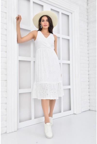 Park Karon Kadın Beyaz Lazerli Kruvaze Kolsuz Dokuma Yazlık Elbise