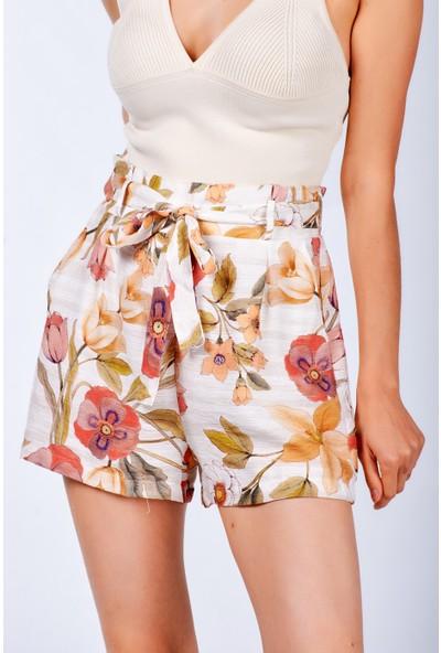 Coral Kadın 22893 Çiçek Desenli Şort Orange