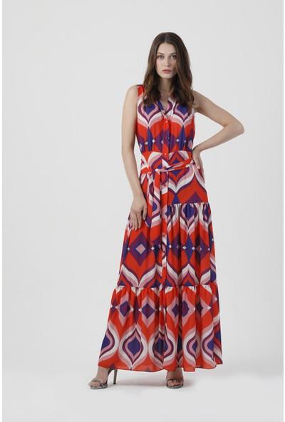 Coral Kadın 110066 Baskili Uzun Elbise Orange Print