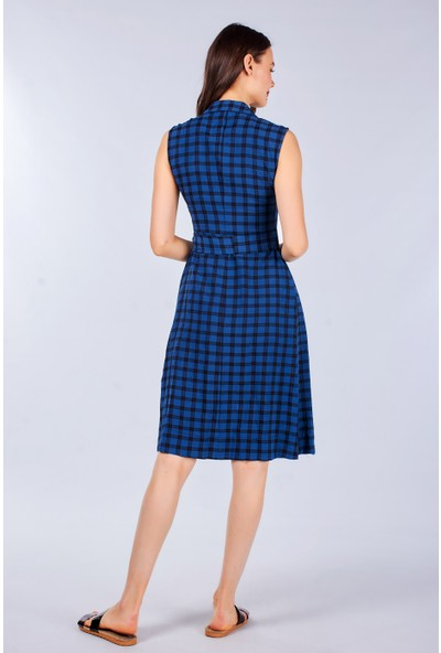 Coral Kadın 110081 Çizgili Elbise Navy Check
