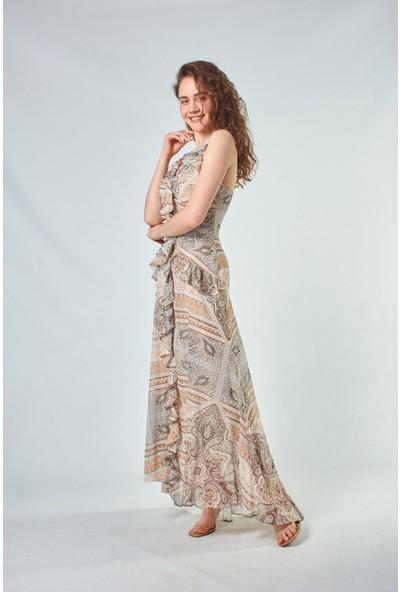 Coral Kadın 110091 Baskili Uzun Elbise Birch-Print