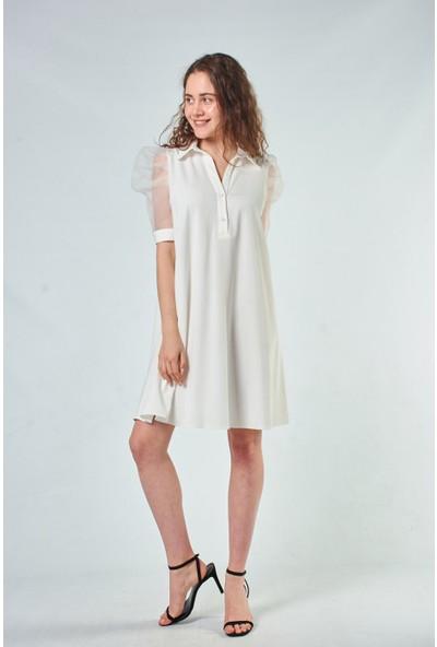 Coral Kadın 110097 Organze Kollu Elbise Ecru