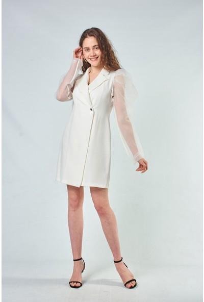 Coral Kadın 110102 Organze Kol Detayli Elbise Ecru