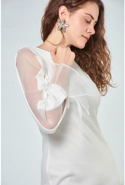 Coral Kadın 110113 Kol Detayli Elbise Ecru