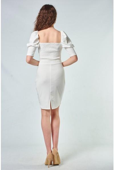 Coral Kadın 110114 Puff Sleeve Dress With Neck Details Ecru