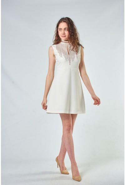 Coral Kadın 110118 Kolsuz Elbise Ecru