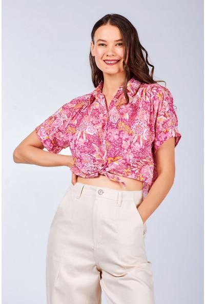 Coral Kadın 11196 Önden Bağlamali Desenli Gömlek Pembe