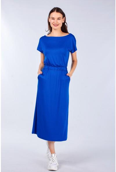 Coral Kadın 11258 Degaje Örme Elbise Sax Mavi