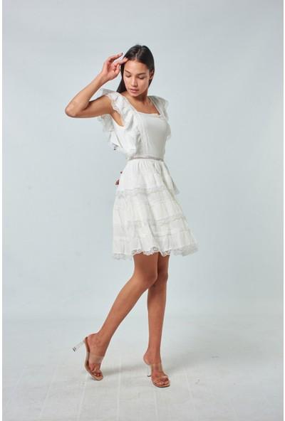 Coral Kadın 1623 Dantelli Eteği Katli Elbise Ekru