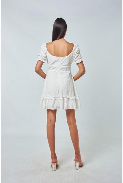 Coral Kadın 1681 Düşük Omuz Kısa Elbise Ekru