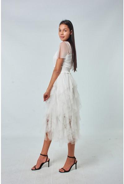 Coral Kadın 1751 Eteği Katli Tül Elbise Ekru