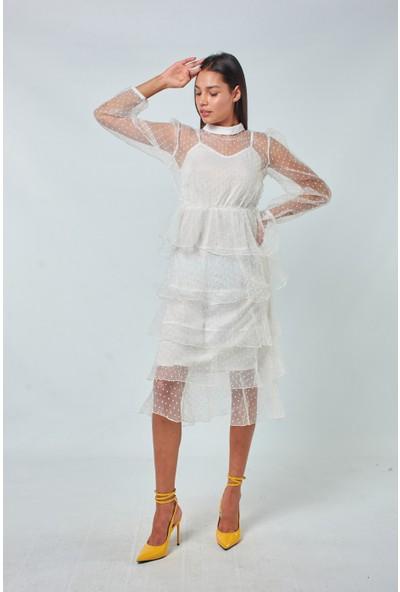 Coral Kadın 1781 Eteği Katli Tül Elbise Ekru