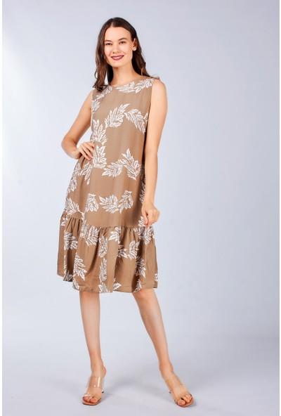 Coral Kadın 23662 Yaprak Baskili Kolsuz Elbise Bej